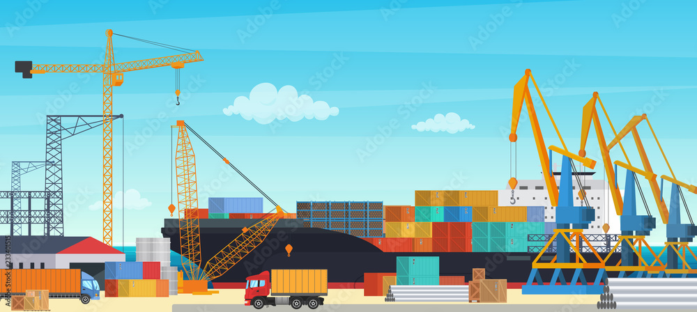 Fototapeta Logistics transportationt container ship with industrial crane import and export in shipping cargo harbor yard. Transportation industry vector illustration.