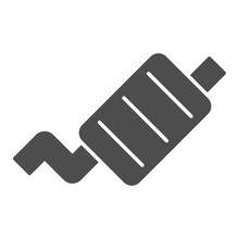 Exhaust Pipe Solid Icon. Car M...