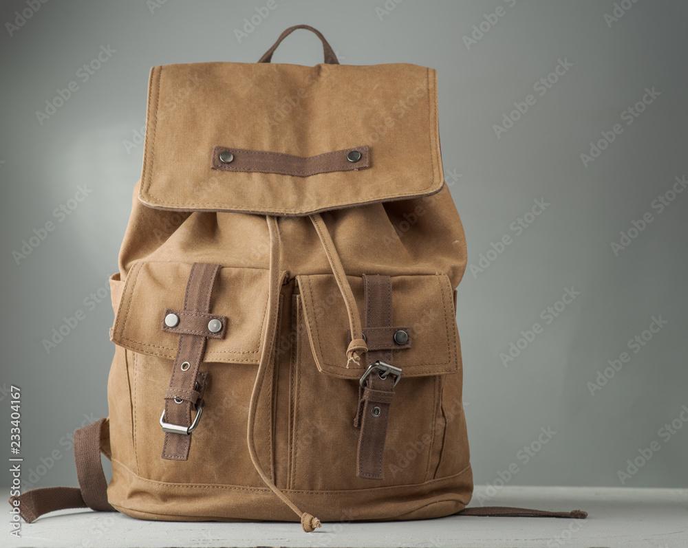 Fototapety, obrazy: Vintage beige backpack