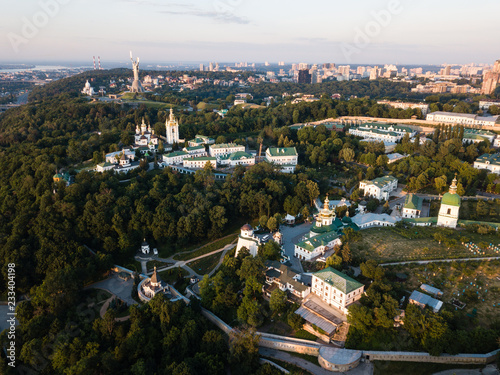 Aerial panoramic top view of Kiev Pechersk Lavra churches on hills from above, cityscape of Kyiv city