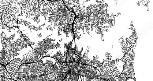 Printed kitchen splashbacks Woman face Urban vector city map of Sydney, Australia