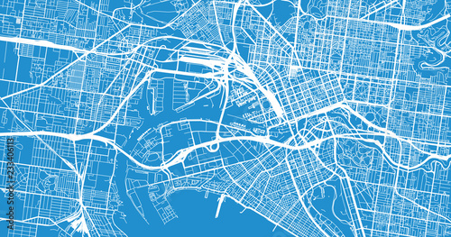 Fotomural Urban vector city map of Melbourne, Australia