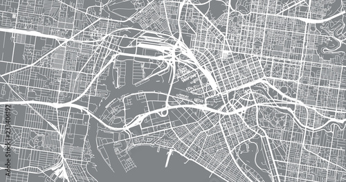Cuadros en Lienzo Urban vector city map of Melbourne, Australia