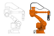 Handling Robot In Drawing And Design Isolated On White Background. Vector Illustration EPS 10.