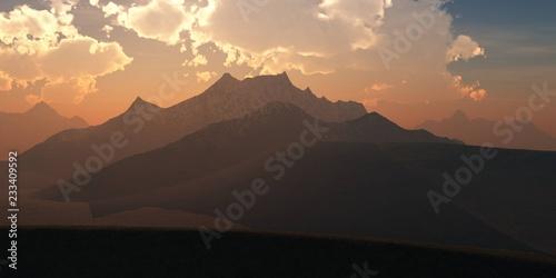 Montage in der Fensternische Dunkelbraun Beautiful sky over the mountains, mountain landscape,
