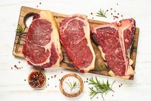 Raw Meat Beef Steak On White T...