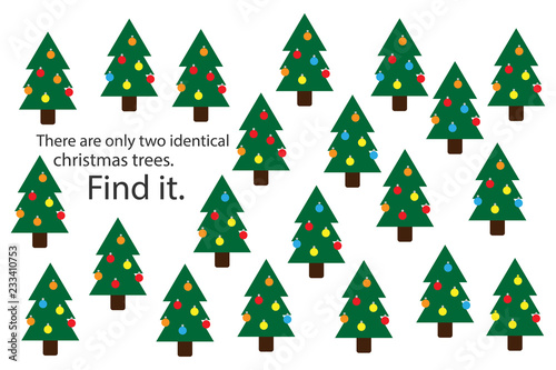 Find two identical christmas trees, xmas fun education puzzle game for children, preschool worksheet activity for kids, task for the development of logical thinking and mind, vector illustration