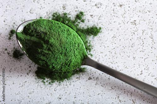 Tuinposter Kruiderij spirulina powder healthy dietary supplement