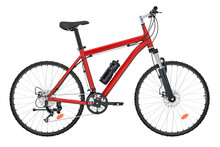Red Bicycle Side View, 3D Rend...
