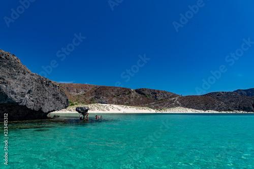 Balandra beach famous suspended mushroom rock Baja california Mexico Canvas Print