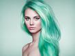 Leinwandbild Motiv Beauty Fashion Model Girl with Colorful Dyed Hair. Girl with perfect Makeup and Hairstyle. Model with perfect Healthy Dyed Hair. Green Hair