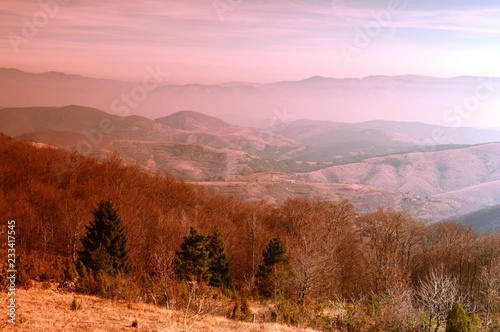 Foto op Canvas Rood paars landscape of the hills and mountains in autumn