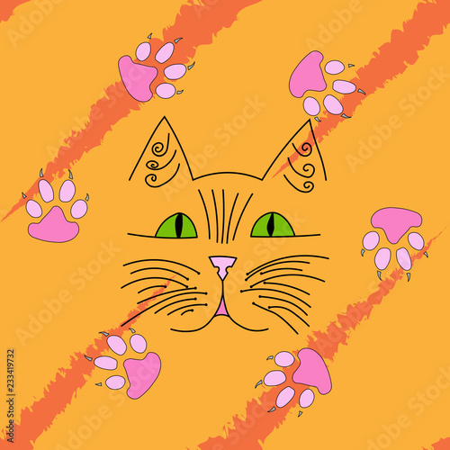 Cat's muzzle and paws. Vector illustration of a bright children's background with a cartoon cat. Hand drawn funny cat and paws.