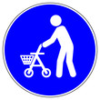 canvas print picture - nsrb6 NewSignRoundBlue nsrb - german - Shopper / Personen mit Rollator willkommen - barrierefrei - english - people with walking frame - barrier free - bus sign - blue xxl g6771