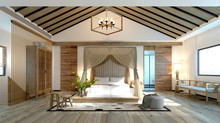 3d Render Of Asian Style Bedroom