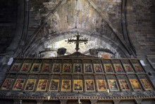 The Iconostasis. İnterior Of The Old Catholic Church. The Church Inside, The Decoration Church. North Cyprus Bellapais Abbey