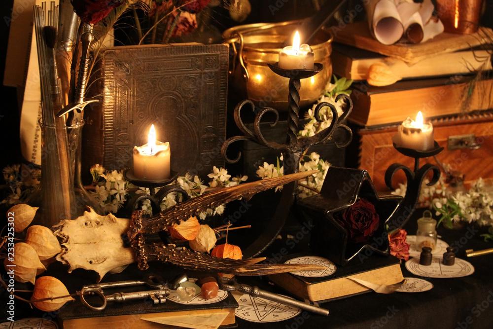 Photo & Art Print Black candle Magic Ritual | EuroPosters