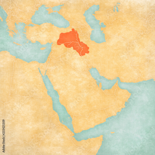 Fotografie, Obraz  Map of Middle East - Kurdistan