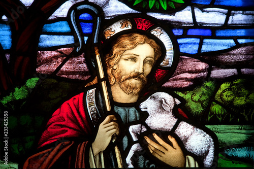 Obraz na plátně HALIFAX, NOVA SCOTIA, CANADA- AUG 27, 2014: Detail of Jesus the good shepherd from a selection of religious stained glass