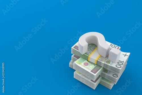 Fototapeta Question mark on stack of money obraz