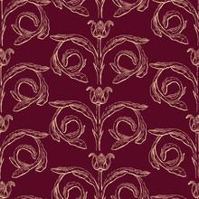 Seamless Patternn Of Vintage Floral Element