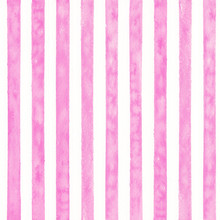 Pink Watercolor Stipes Background. Seamless Pattern.