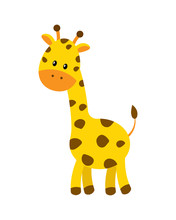 Cute Cartoon Giraffe Vector Illustration Isolated On White Backg