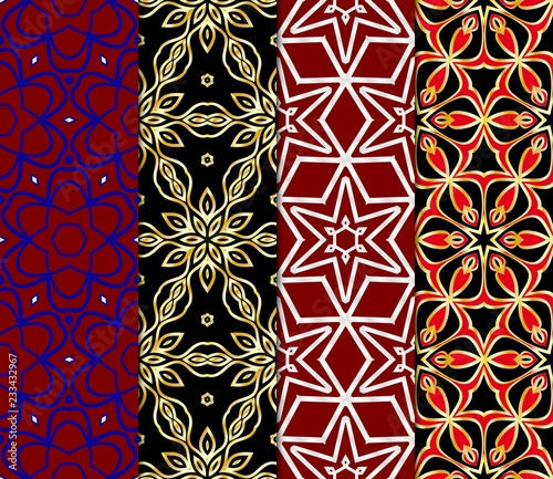 Set of Seamless texture of floral ornament. Vector illustration. For the interior design, printing, web and textile