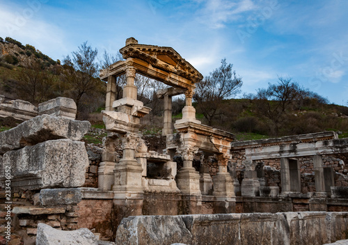 Deurstickers Rudnes Part of temple in Ephesus, Turkey. The ancient city is listed as a UNESCO World Heritage Site.