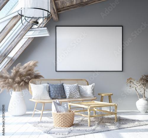 Fototapeta Mock up poster frame in home interior background, Scandinavian Bohemian style living room in attic, 3D render obraz