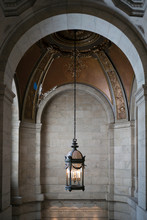 Candle Chandelier Hanging In New York Public Library, Midtown Manhattan, New York City, New York State, USA
