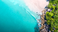 Tropical Beach With Sea And Palm Taken From Drone. Seychelles Famous Shark Beach - Aerial Photo