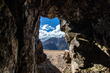 View Out Of An Old Silver Mine By The Inca Folk On The Choquequirao Trek To Machu Picchu, Andes Mountains, Peru