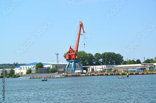 Poster Poort View of port of the city Svetlyj in summer day. Kaliningrad region