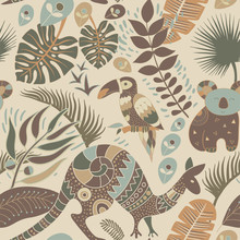 Colorful Seamless Pattern With Australian Animals. Decorative Aboriginal Backdrop