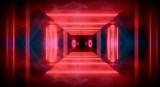 Fototapeta Do przedpokoju - Background of an empty room at night with smoke and neon light. Dark abstract background. Background of an empty show scene.