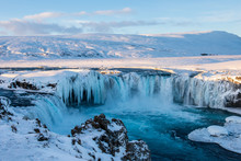 Frozen Godafoss Waterfall On C...