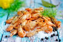 Boiled Shrimp With Sea Salt, Pepper, Lemon And Dill