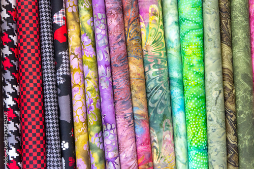 Fotobehang Stof Multi-colored fabric in piles