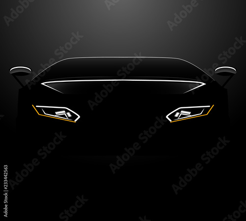 Silhouette Of The Front Of The Car On A Black Background Buy This