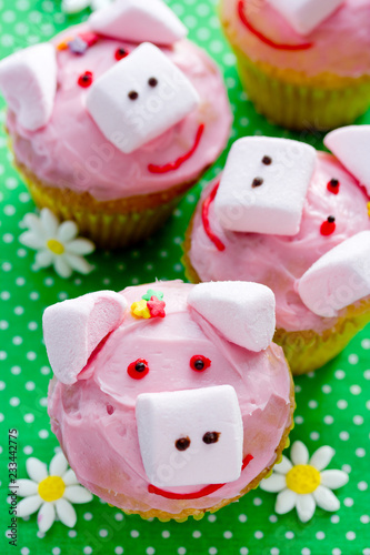 Pig Cupcakes Animal Shaped Funny Cakes For Kids Party Piggy With Pink Frosting
