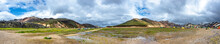 Beautiful Colorful Volcanic Mountains Landmannalaugar And Camping Site In Iceland, Earth Formation, Dramatic Landscape, Details