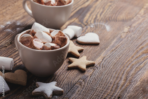 Spoed Foto op Canvas Chocolade Christmas cookies and hot chocolate with marshmallows