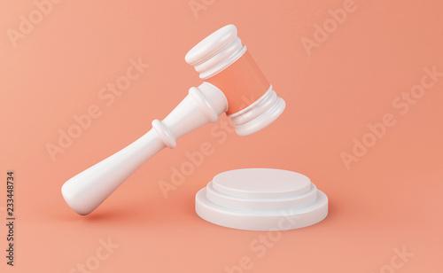 Valokuva  3d Gavel on white background. Law concept.