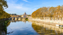 Saint Peter From Bridge On Tiber