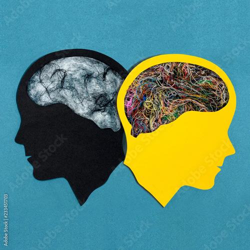 Photo Two stylized head silhouettes. Bipolar disorder