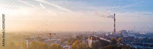Fototapeta Smog nad miastem - Wrocław, zimowy widok na panoramę miasta  obraz