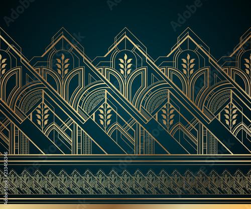 zlota-art-deco-bezszwowe-granica-na-ciemnym-tle-turkus