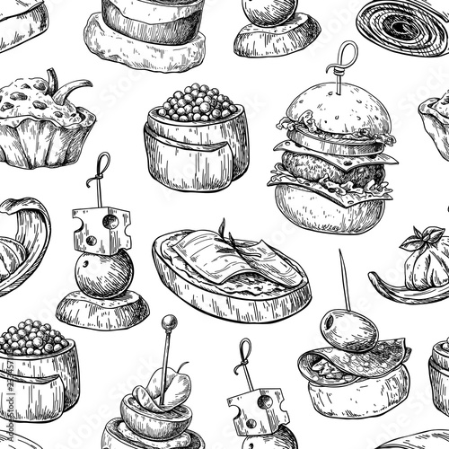Fotografia Finger food vector seamless pattern. Food appetizer and snack sk