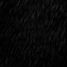 Isolated Visual Effect Of Rain On The Black Background. Overlay For Photos.